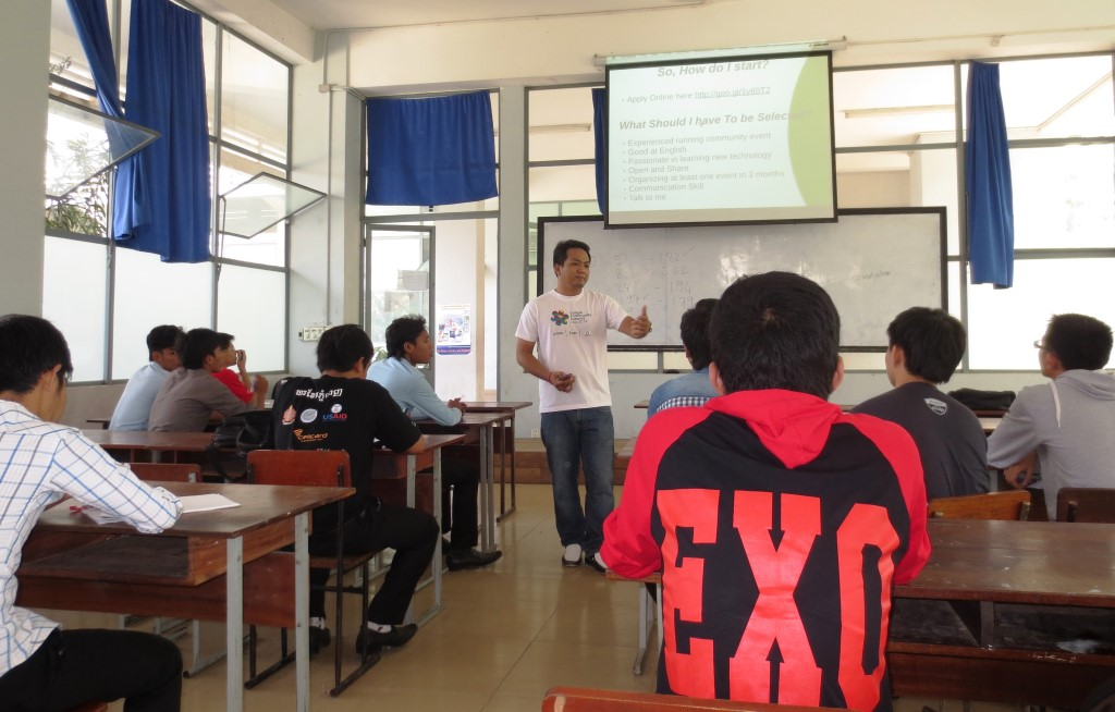Mr. Samdy Lonh community leader of GDG Phnom Penh, shared about: How to run Google Developer Groups in your province