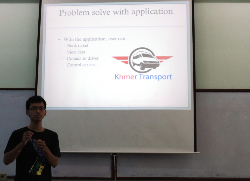 Mr.Tith Dara sharing about his application to solve transport problems