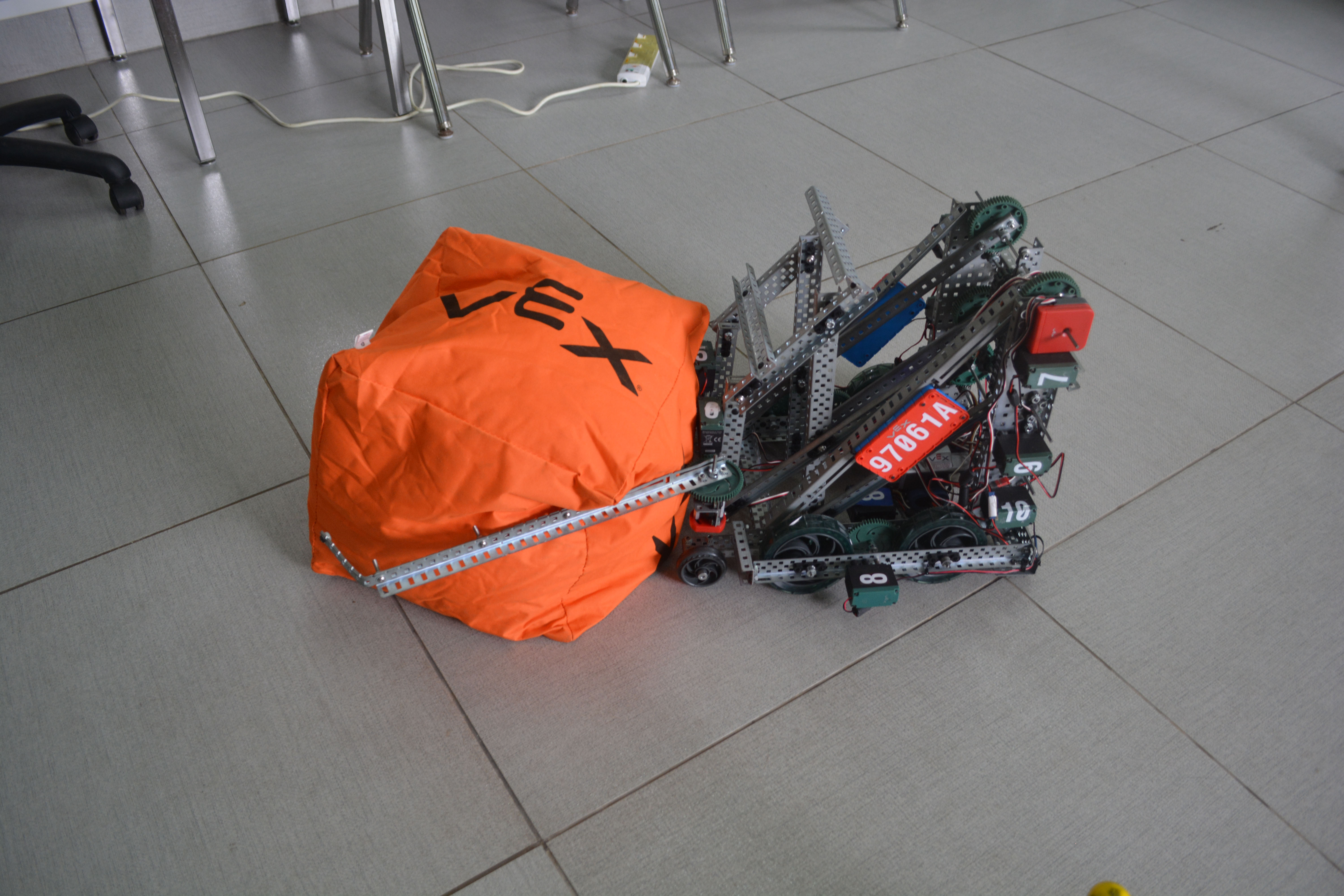 The Liger Robot showing off its ability to pick up the cube used in the VEX competition