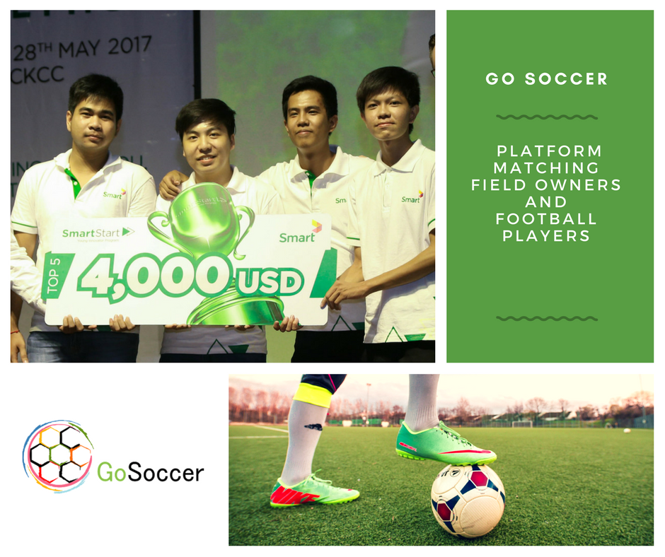 The GoSoccer Team comprises of Sovann Lyhour (Financial Manager), Sengkhun Lim (App and Website Developer), Socretquuliqaa Lee (App and Website Developer), Hang Rithratanak (Marketing Strategist) and Sokrattanak Utdorm Em (Graphic Designer- Not shown in Picture) Source: Impact Hub Phnom Penh Facebook Page