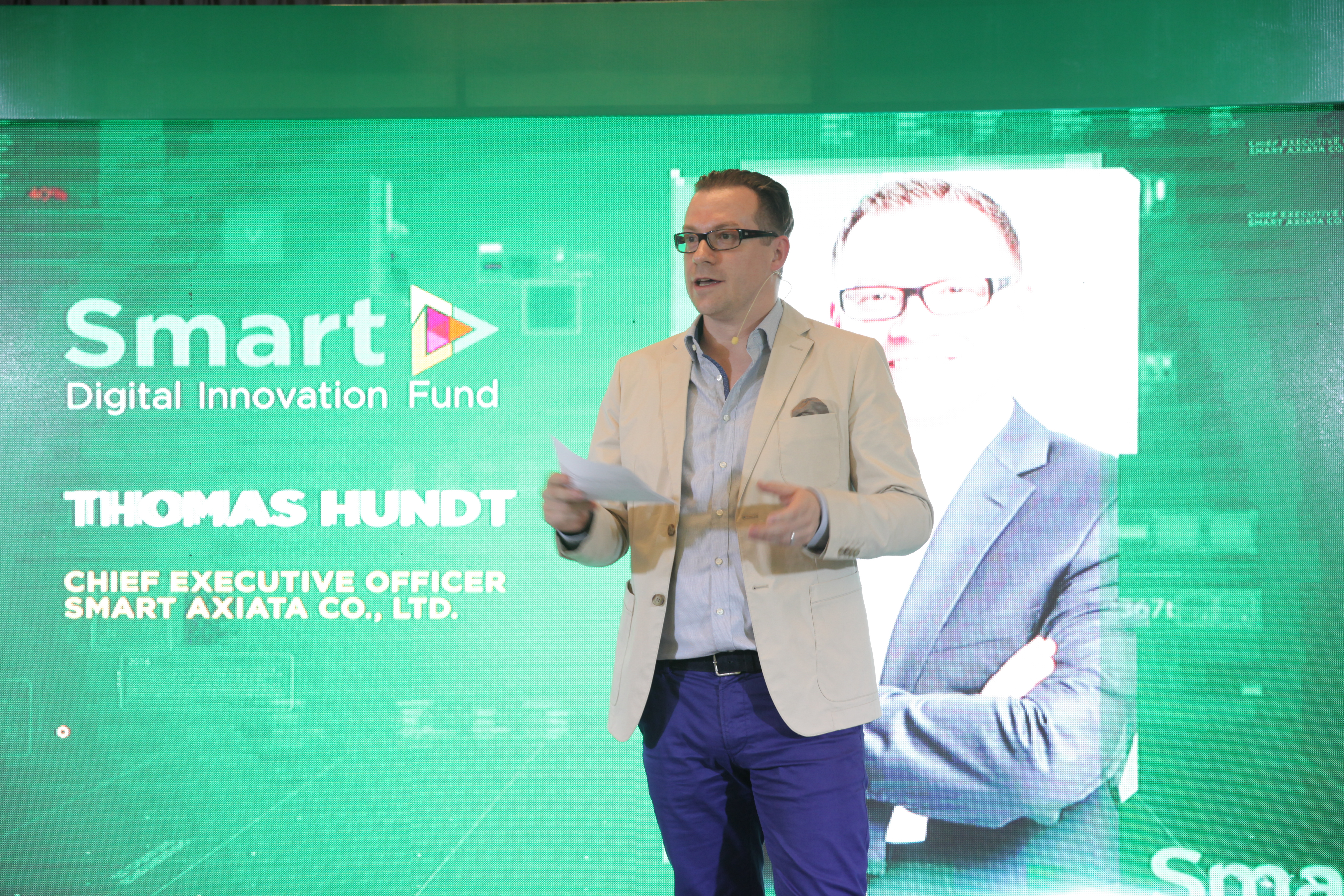 CEO of Smart Axiata, Thomas Hundt, sharing his thoughts about SADIF's brand new line of announcements