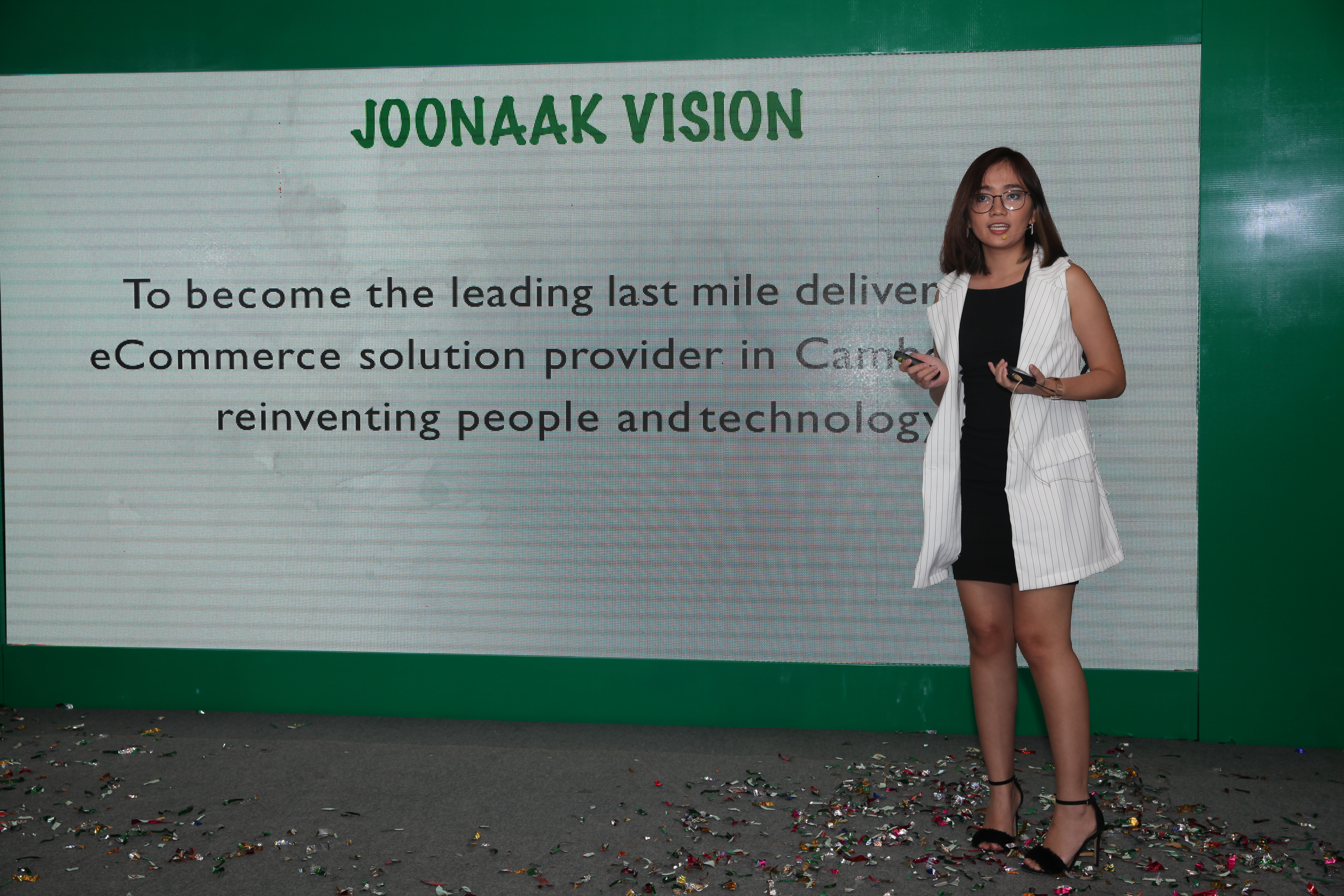 Joonak presenting their business vision to those present at the announcement event