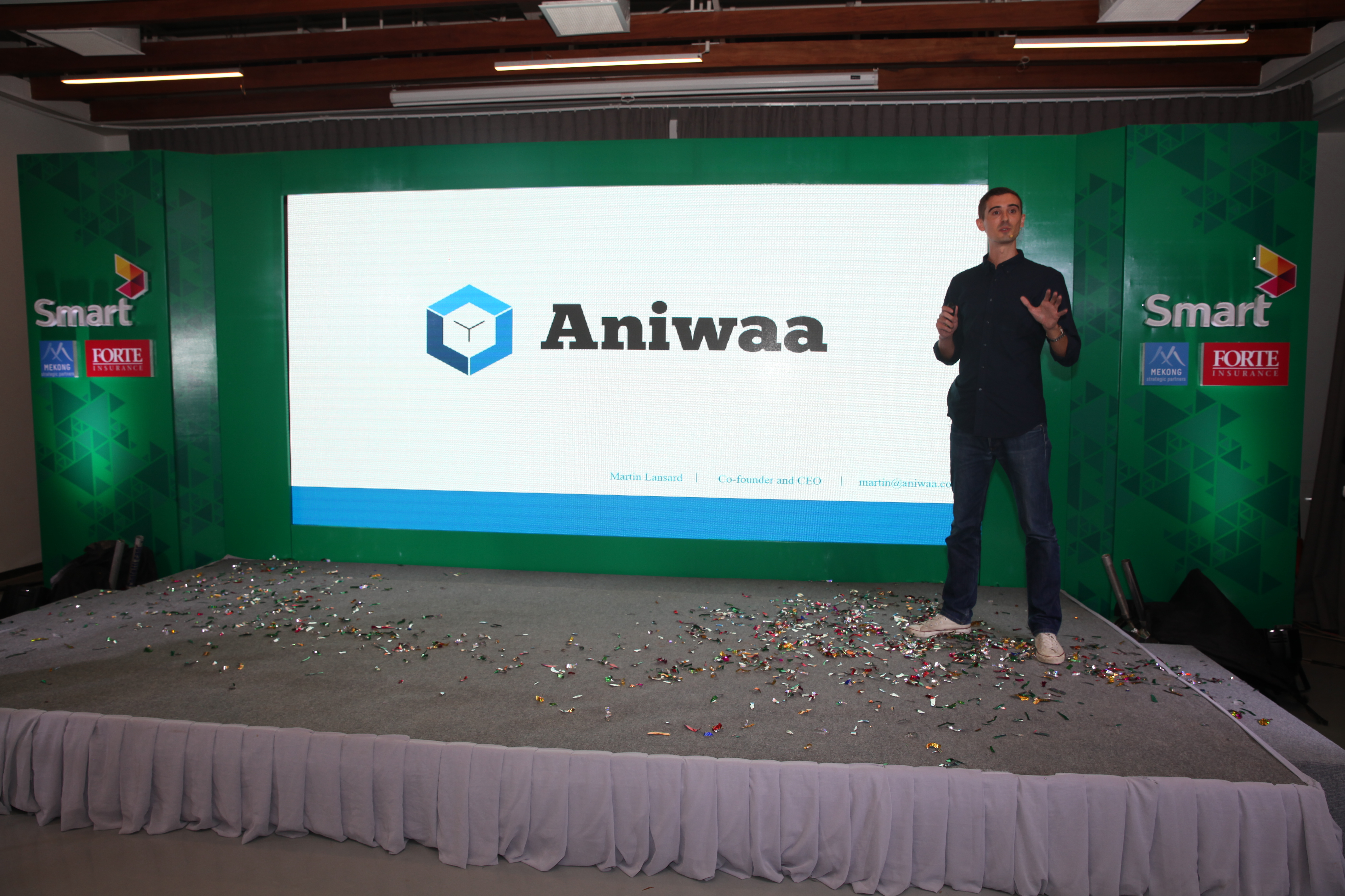 Martin Lansard, Co-founder and CEO of Aniwaa, sharing more about his company for those present at the event