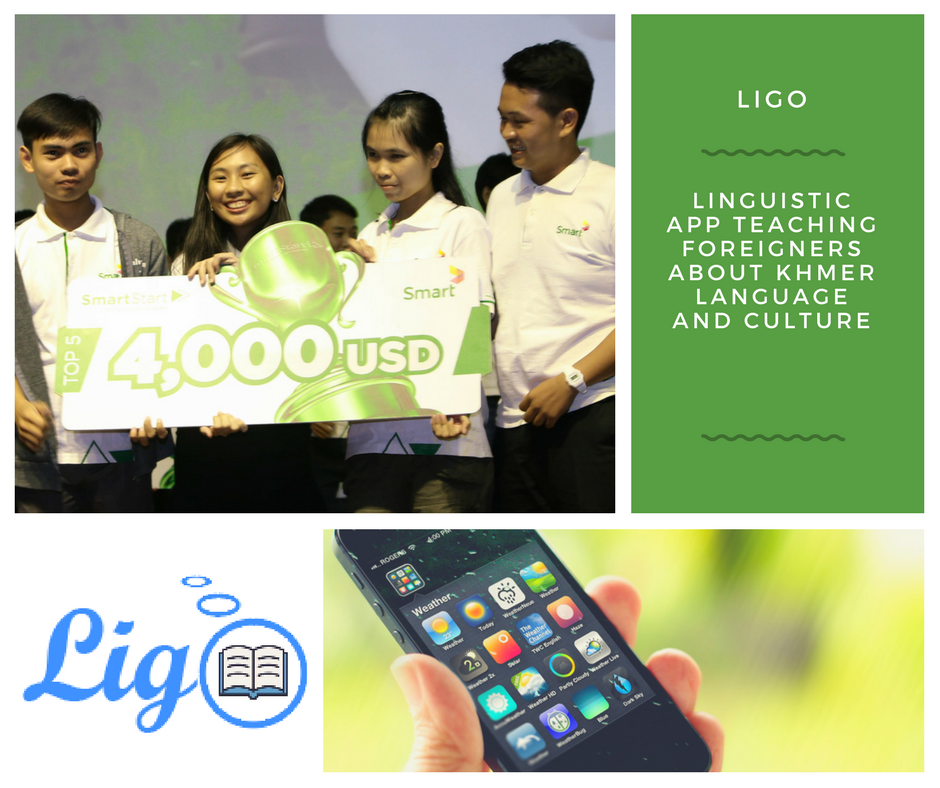 The Ligo Team receiving their prize money of 4,000 USD from Smart Axiata's SmartStart Programme Source: Impact Hub Phnom Penh Facebook Page